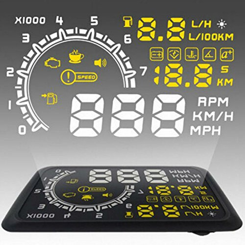 Ronben Universal 5.5' Screen Car OBD II 2 HUD Head Up Display Safety Tachometer/Speedometer/Odometer/ Fault Alarm LD-021