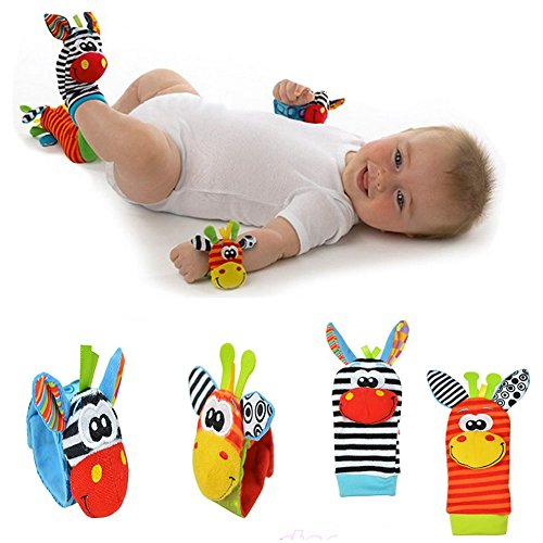 [WALLER PAA 4pcs set Cute Animal Infant Baby Kids Hand Wrist Bell Foot Sock Rattles Soft Toy] (Sassy Ninja Turtle Costumes)