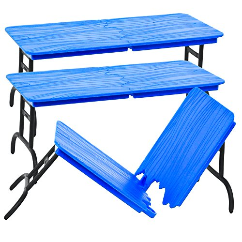 Set of 3 Blue Break Away Tables for WWE Wrestling Fighting Figures by Figures Toy Company