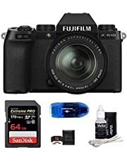 $1399 » FUJIFILM X-S10 Mirrorless Digital Camera Bundle, Includes: SanDisk 64GB Extreme PRO SDXC Memory Card, Card Reader, Memory Card Wallet and Lens Cleaning Kit (5 Items) (with 18-55mm Lens)