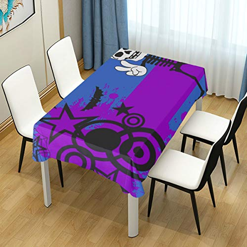 MIGAGA Decor Tablecloth Skeleton Cartoon Halloween Background Vector Format Multicolor Rectangular Table Cover for Dining Room Kitchen Outdoor Picnic