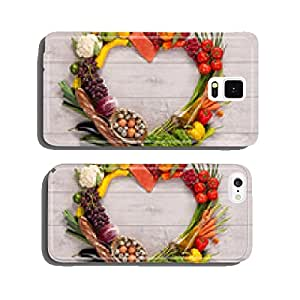 heart made from different fruits and vegetables on wooden table cell phone cover case iPhone6