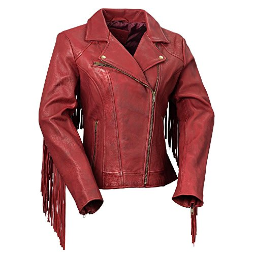 (Whet Blu The Daisy Women's Fringed Leather Jacket,Oxblood,3X-Large)