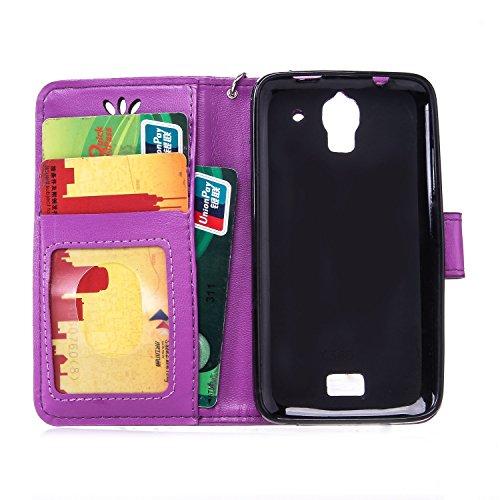 SRY-Conjuntos de teléfonos móviles de Huawei Funda de la caja Huawei Y360 con ranura para tarjeta de crédito en efectivo, caja de la cartera de la caja de cuero premium en relieve Caja de la mariposa  Purple