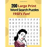 200 Large Print Word Search Puzzles - 1950's Fun