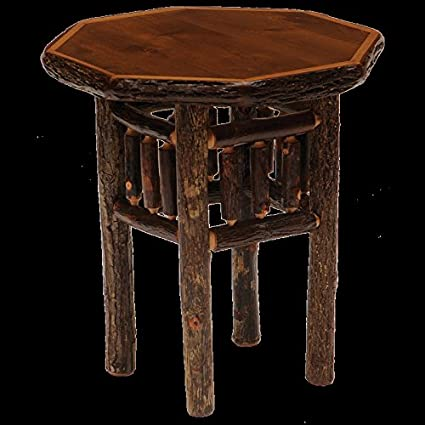 Ordinaire Hickory Octagon End Table Real High Quality Wood Western Lodge Rustic Cabin