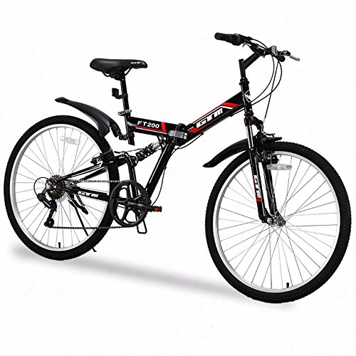 Folding Mountain Bike 7 Speed Black 26