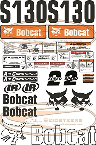 Complete S130 Decal Sticker Kit 30pcs (New Style) for Bobcat Skid Steers | Replaces OEM Model # 7120601