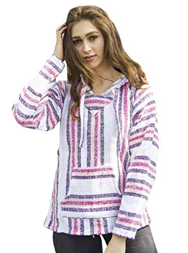 Mexican Baja Hoodie Sweater Jerga Pullover Pink Purple White (Medium)