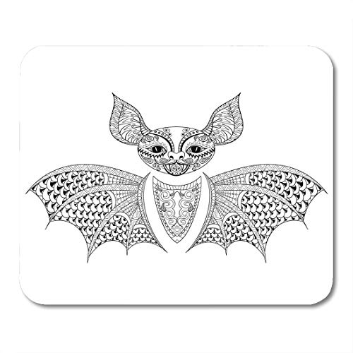 Emvency Mouse Pads Zentangle Bat Totem for Adult Anti Stress Coloring Page Therapy Tribal in Doodle Monochrome Sketch High Mouse Pad Mats 9.5