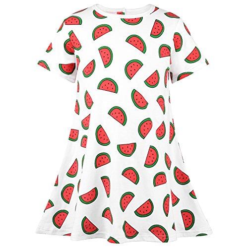 Ephex Kinder Mädchen Kleid Baumwolle Stoffdruck A Linie Kurzarm