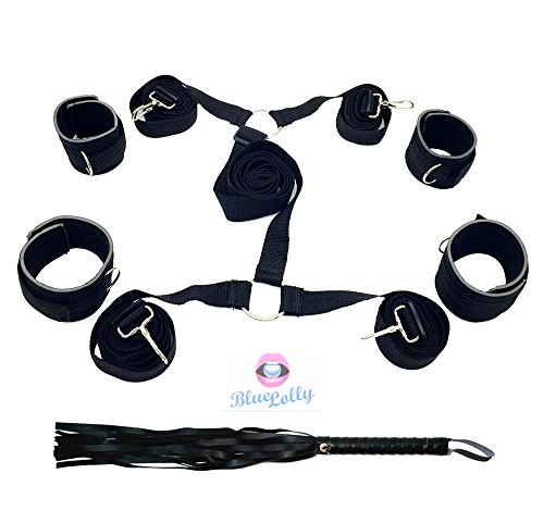 Bed Restraints From Blue Lolly, SM BDSM Bed Restraint Bondage System Including Hand Cuffs & Ankle Cuff, Free Faux-Leather Whip As Bonus. Enjoy Your Own 50 Shades of Gray!
