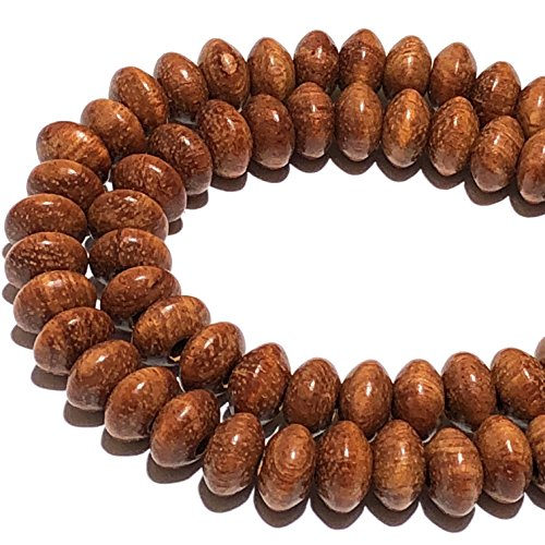 [ABCgems] Bayong Hardwood (Exquisite Wood Grain) 8-9mm Smooth Rondelle Beads for Jewelry Making