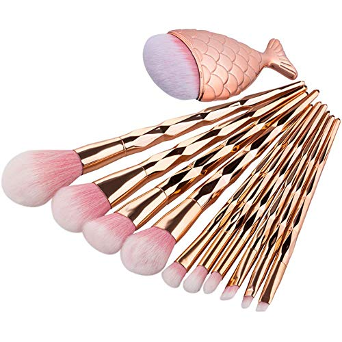 MISS & MAM Diamond Handle Synthetic Fiber Makeup Brushes Set with Big Fish Tail for Foundation Eyeshadow Face Kit -10…