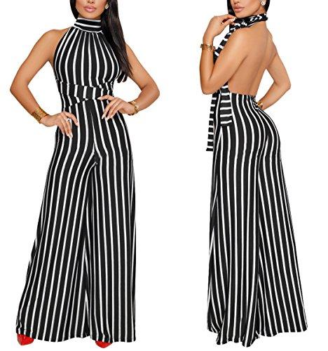 Women Sexy Stripes Jumpsuits Turtleneck Backless Halter Sleeveless High Waist Wide Leg Long Pants