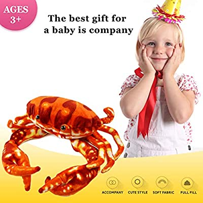 Houwsbaby Large Plush Crab Beach Stuffed Sea Animal Soft Realistic Oceanic Toy Gift for Kids Boys Girls Huggable Pet Pillow Holiday Birthday, Red, 13'': Home & Kitchen