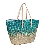 Straw Beach Tote Shoulder Bag Womens Large - Washable Lining BEACH'D (Hawaiian Ocean) (Blue)