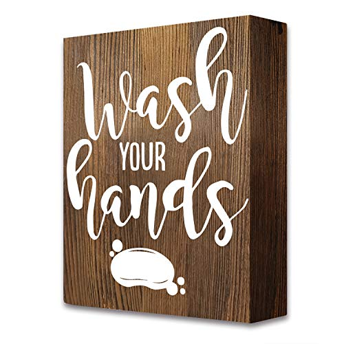 akeke Wash Your Hands Farmhouse Funny Quotes Bathroom Wooden Box Signs Plaque Decor (Wooden Bathroom Signs)