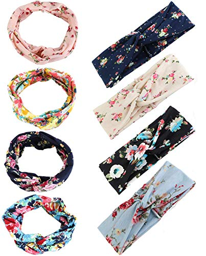 FIBO STEEL 8 Pcs Headbands for Women Girls Wide Boho Flower Knotted Yoga Head Wrap Hair Band]()