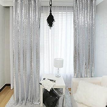 Amazon Com Trlyc 2ftx8ft Christmas Silver Sequin Curtain