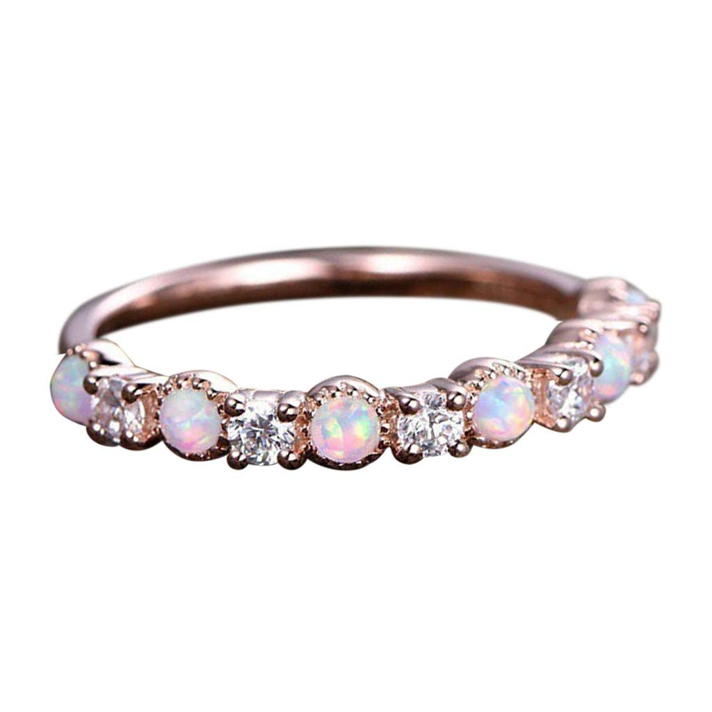 Coco-Z New Fashion Simple Temperament Opal Rose Gold Rhinestone Ring Jewelry, Overseas Import Products Specialty Store