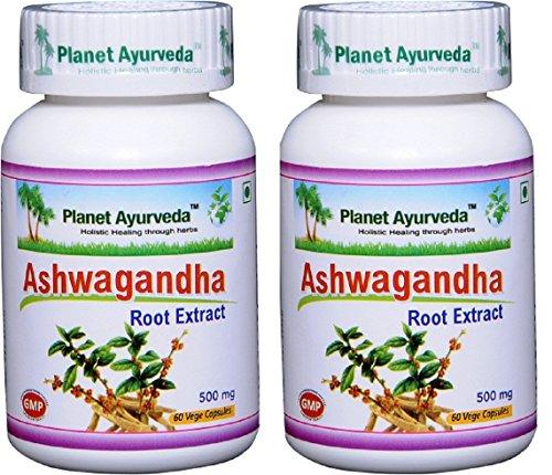 Planet Ayurveda Ashwagandha, 500mg Veg Capsules - 2 Bottles by Planet Ayurveda