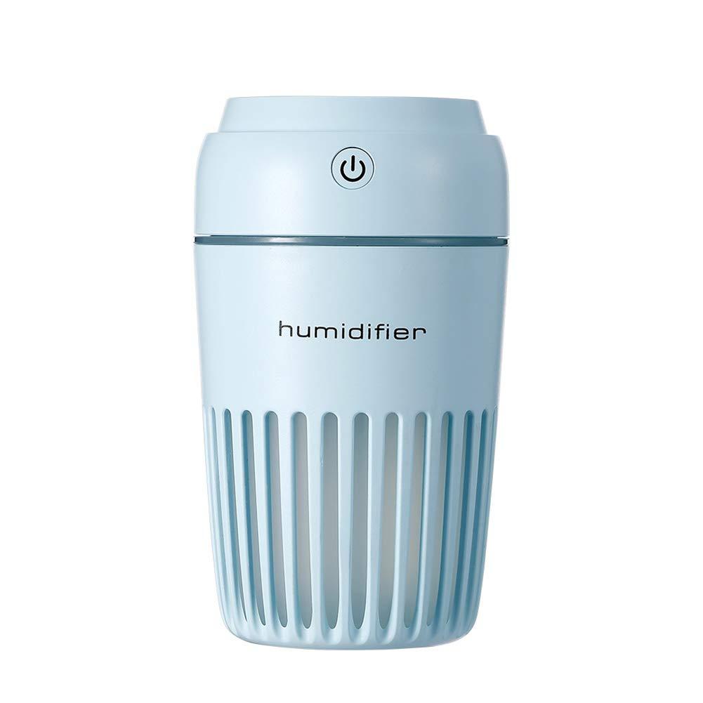 B5645ells Cup Shape Mini USB Tischluftreiniger LED Licht Nebel Diffusor Luftbefeuchter Geschenk - Blau