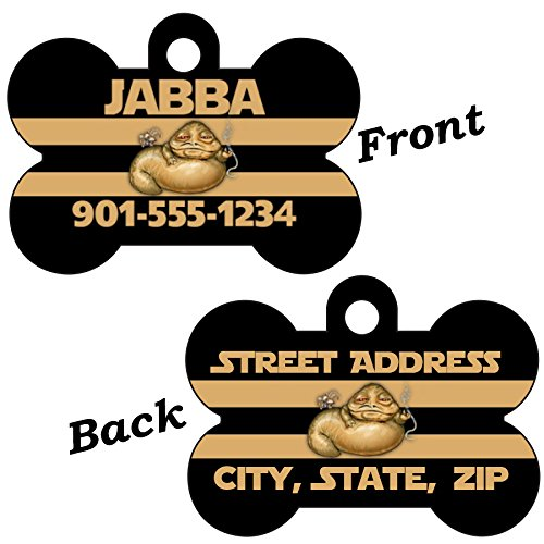 uDesignUSA Disney Star Wars Double Sided Pet Id Dog Tag Personalized w/4 lines of Text (Jabba the Hutt)