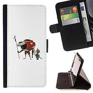 BullDog Case - FOR/Samsung Galaxy S3 III I9300 / - / CARTOON SPACESHIP HERO ART CAT ALIEN UFO /- Monedero de cuero de la PU Llevar cubierta de la caja con el ID Credit Card Slots Flip funda de cuer