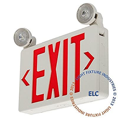 LFI Lights - Red LED Compact Combo Exit Sign Emergency Light - COMBOCR