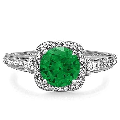14K White Gold Round Green Emerald & White Diamond Ladies Engagement Halo Bridal Ring