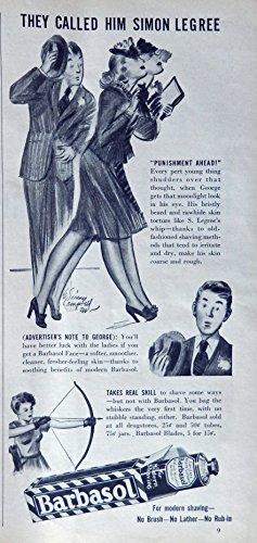 1940's Cream (Barbasol Shaving Cream, 40's Print ad. B&W Illustration (they called him Simon Legree) Original Vintage 1940 Liberty Magazine Print Art)