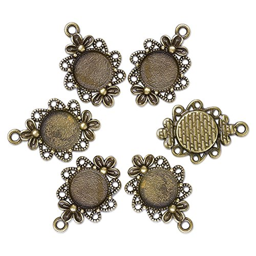 Beadthoven 10pcs Vintage Tibetan Style Alloy Flower Pendant Cabochon Bezel Settings, Nickel Free, Antique Bronze, Flat Round Tray: 12mm; 30x21x3mm, Hole: 2mm