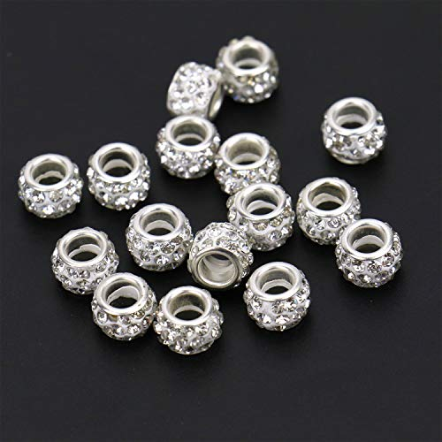 JETEHO 100Pcs Crystal Rhinestone European Beads, Large Hole Rondelle Spacer Beads Fit European Bracelet Snake Chain Charms Bracelet (White)