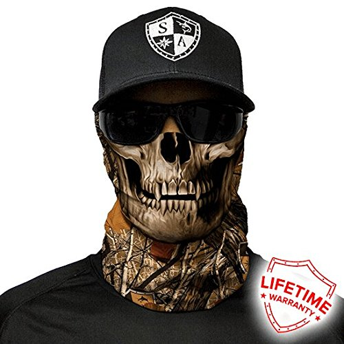SA CO Official Forest Camo Skull Face Shield, Perfect for All Outdoor Activities, Protects Face Against the Elements