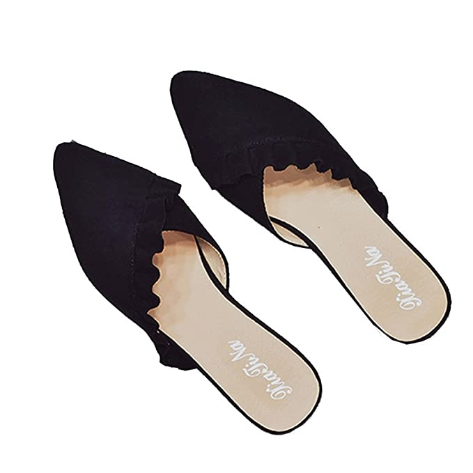 c90bb6fea Image Unavailable. Image not available for. Color: Women Mule Flats Pointed  Toe Slides Sandals Ruffle Black ...