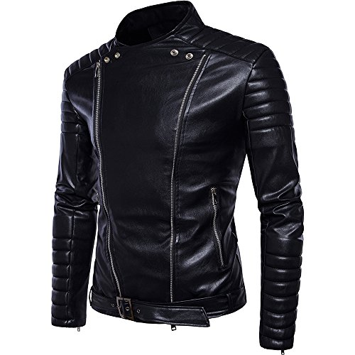 Mens Stand Collar Slim PU Leather Moto Rider Faux-Leather Jacket Coat Black US Size XL
