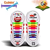 Coolnice® No Tie Shoelaces Outdoor Sports for Kids 18pcs- Environmentally Safe Silicon Stain Resistant Rainbow Color