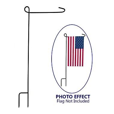 KINREX Garden Flag Pole Holder Stand - Black Metal Iron Wrought Stake Poles for Outdoor Garden Lawn Yard - 3 Piece Set - 35  Tall x 15.5  Wide