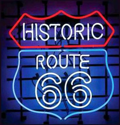 LinC Neon Sign- Historic_Route_66 Home Decor Light for Bedroom Garage Beer Bar and Nightclub, Real Glass Neon Light Sign for Wall Decor Art (White)