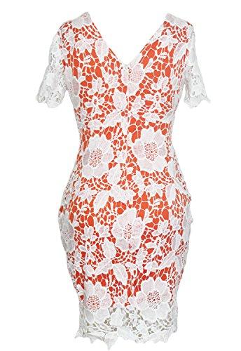 Damas crema y Ornage Crochet encaje Bodycon vestido Club Wear fiesta vestido de novia madre de la novia tamaño UK 10–�?2EU 38–�?0