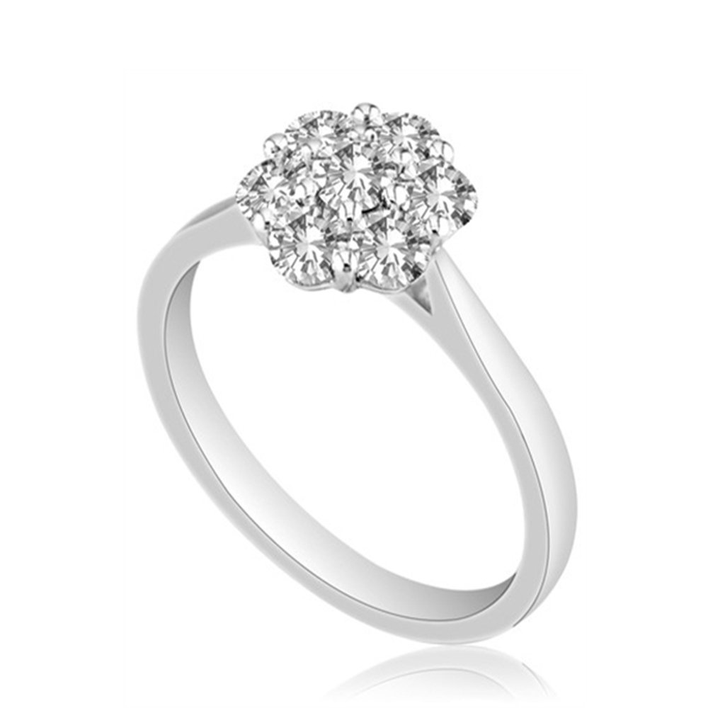 Engagement Wedding Ring 14K White Gold Fn Simulated Diamond Studded Alloy for Womens Jewellery
