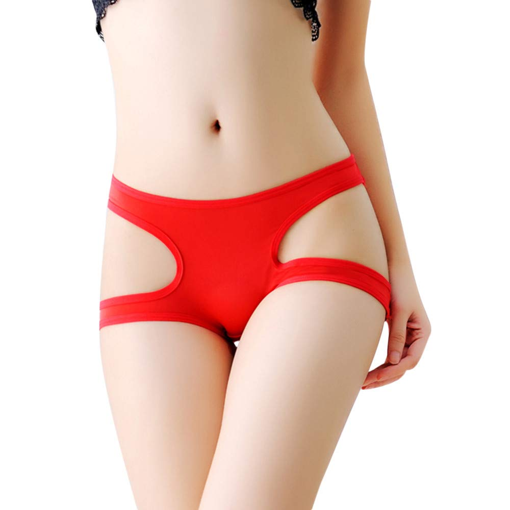 Sinwo Sexy Underwear Women Thong Bragas Panties Thong Word Pants Ladies Briefs (Red)