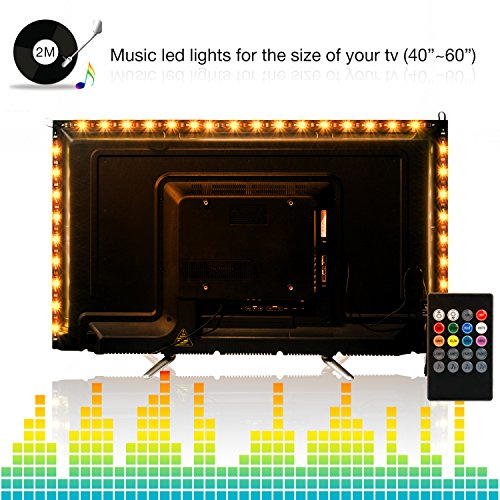 Led Light Strips,ViLSOM 2M/6.56Ft SMD 5050 USB Powered Led tv Backlight Sync to Music with 8 Colors,4 Flash Modes and 4 Music Modes for 40-60 inch HDTV,TV Backlight (4 x 50CM/1.64Ft led Strips) by ViLSOM