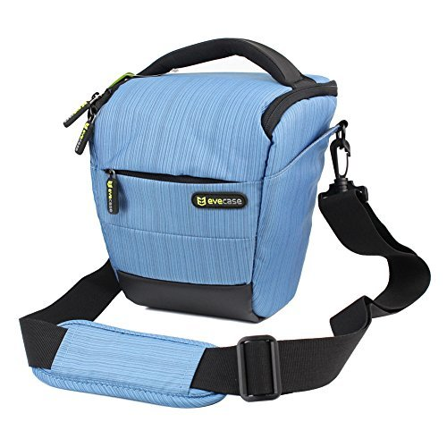 Camera Case - Evecase Digital SLR / DSLR Professional Camera Shoulder Bag For Compact system, Hybrid, SLR / DSLR and High Zoom Camera - Blue Pentax Olympus Sp