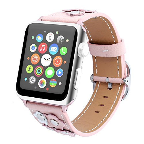 TCSHOW For Apple Watch Band Series 3 ,38mm Floral Flower Genuine Leather Strap Wrist Band with Silver Metal Adapter for Apple Watch Series 3 Series 2 and Series 1 (Pink) from MeShow