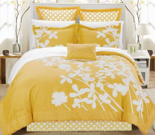 Chic Home Iris 7-Piece Comforter Set with Four Shams and Decorative Pillow, King Size, Yellow, Bedskirt from Chic Home