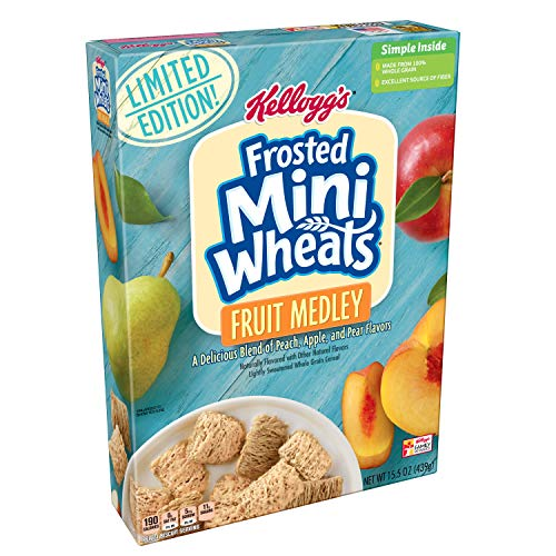 Kellogg's Frosted Mini-Wheats, Breakfast Cereal, Fruit Medley, Limited Edition, Excellent Source of Fiber, 15.5oz Box
