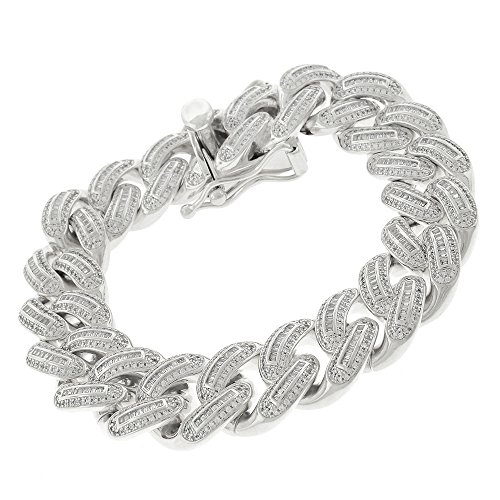 .925 Sterling Silver 18mm Miami Cuban Curb Link CZ Baguette Iced Out Bling Bracelet Chain Rhodium Plated 8.75'' by In Style Designz