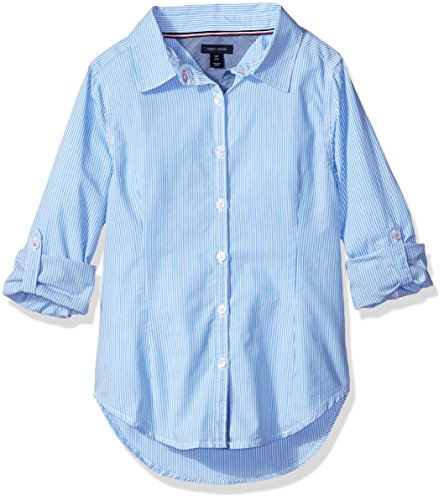 Tommy Hilfiger Big Girls' Ithica Stripe Shirt, Azure Blue, Large/12/14